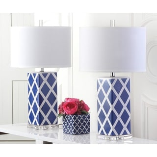 Safavieh Lighting 27-inch Navy Garden Lattice Table Lamp (Set of 2)
