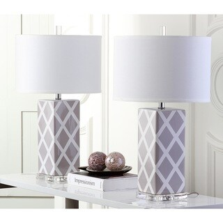 "Safavieh Lighting 27-inch Grey Garden Lattice Table Lamp (Set of 2) - 15""x15""x27"""
