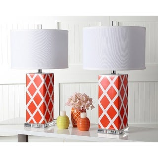Safavieh Lighting 27-inch Orange Garden Lattice Table Lamp (Set of 2)