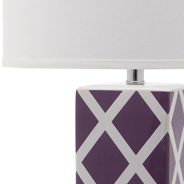 Safavieh Lighting Collection Quatrefoil Table Lamp Light Purple Set of 2