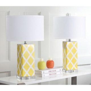 Safavieh Lighting 27-inch Yellow Garden Lattice Table Lamp (Set of 2)