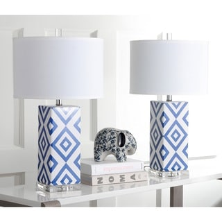 Safavieh Lighting 27-inch Navy Diamonds Table Lamp (Set of 2)