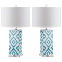 Safavieh Lighting 27-inch Light Blue Diamonds Table Lamp (Set of 2)