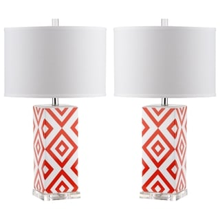 Safavieh Lighting 27-inch Orange Diamonds Table Lamp (Set of 2)