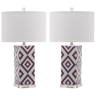 Safavieh Lighting 27-inch Light Purple Diamonds Table Lamp (Set of 2)