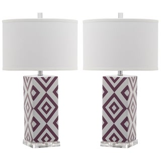 "Safavieh Lighting 27-inch Light Purple Diamonds Table Lamp (Set of 2) - 15""x15""x27"""