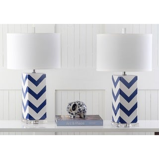 Safavieh Lighting 27-inch Navy Chevron Stripe Table Lamp (Set of 2)