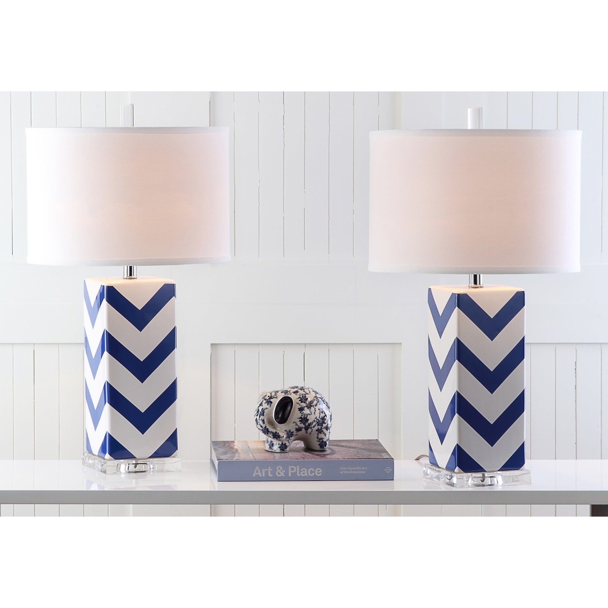 c04c3064a1e5 Shop Safavieh Lighting 27-inch Navy Chevron Stripe Table Lamp (Set of 2) -  On Sale - Free Shipping Today - Overstock - 9043284