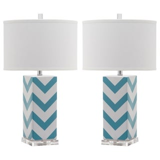 Safavieh Lighting 27-inch Light Blue Chevron Stripe Table Lamp (Set of 2)