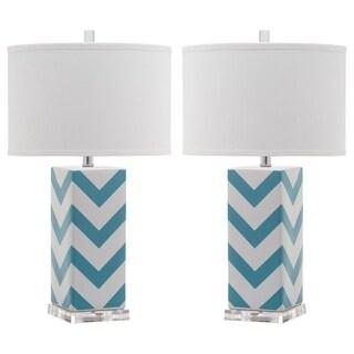"Safavieh Lighting 27-inch Light Blue Chevron Stripe Table Lamp (Set of 2) - 15""x15""x27"""