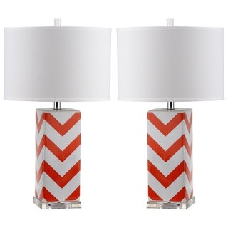 Safavieh Lighting 27-inch Orange Chevron Stripe Table Lamp (Set of 2)