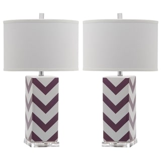 Safavieh Lighting 27-inch Purple Chevron Stripe Table Lamp (Set of 2)