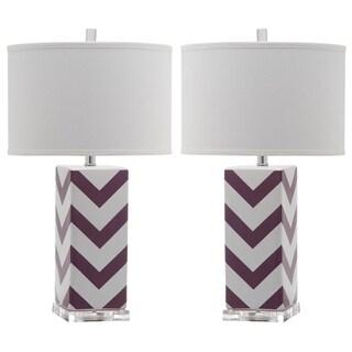 "Safavieh Lighting 27-inch Purple Chevron Stripe Table Lamp (Set of 2) - 15""x15""x27"""