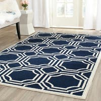 Safavieh Amherst Indoor/ Outdoor Navy/ Ivory Rug - 7' Square