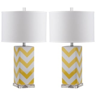 Safavieh Lighting 27-inch Yellow Chevron Stripe Table Lamp (Set of 2)