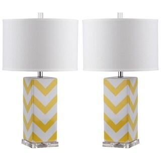 Safavieh Lighting 27-inch Yellow Chevron Stripe Table Lamp (Set of 2)