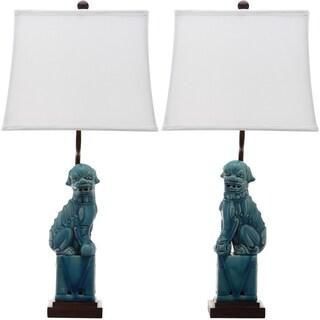 Safavieh Lighting 28-inch Blue Foo Dog Table Lamp (Set of 2)