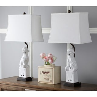 Safavieh Lighting 28-inch White Foo Dog Table Lamp (Set of 2)