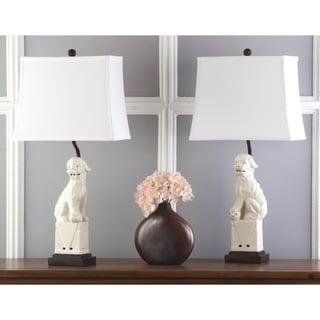 Safavieh Lighting 28-inch Cream Foo Dog Table Lamp (Set of 2)