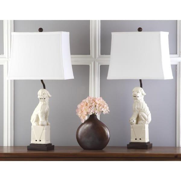 "Safavieh Lighting 28-inch Cream Foo Dog Table Lamp (Set of 2) - 14"" x 9"" x 28.5"""