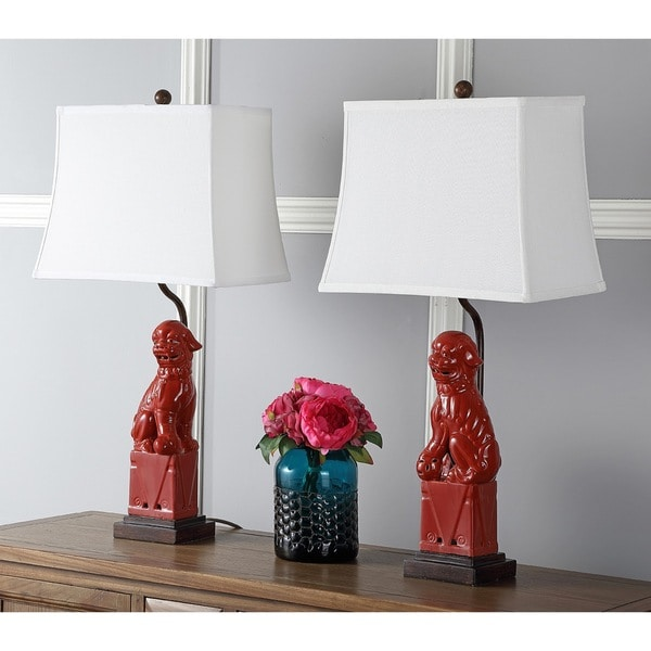 Shop safavieh lighting 28 inch red foo dog table lamp set of 2 safavieh lighting 28 inch red foo dog table lamp set of 2 mozeypictures Image collections