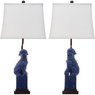 Safavieh Lighting 28-inch Navy Foo Dog Table Lamp (Set of 2)