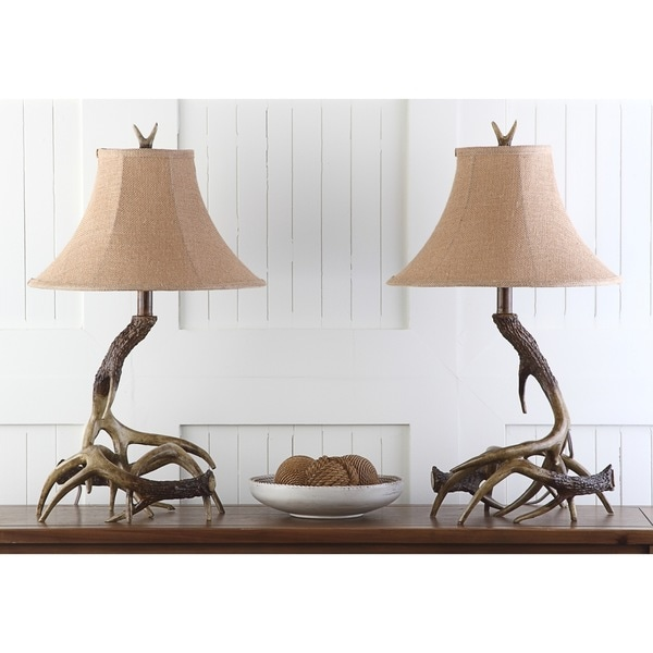 Safavieh Lighting 25 Inch Brown Driftwood Table Lamp Set