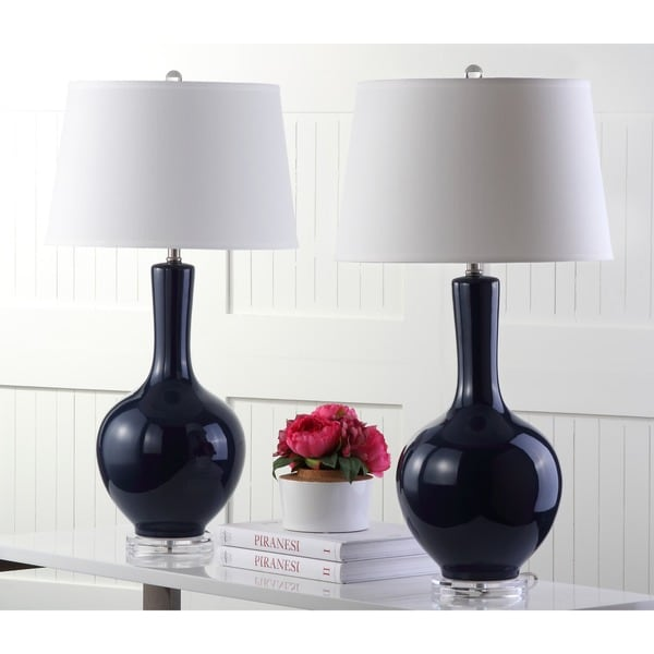 Safavieh Lighting 32-inch Navy Blanche Gourd Lamp (Set of 2)