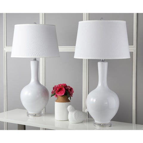 Safavieh Lighting Blanche White Acrylic 32-inch Gourd Lamp (Set of 2)