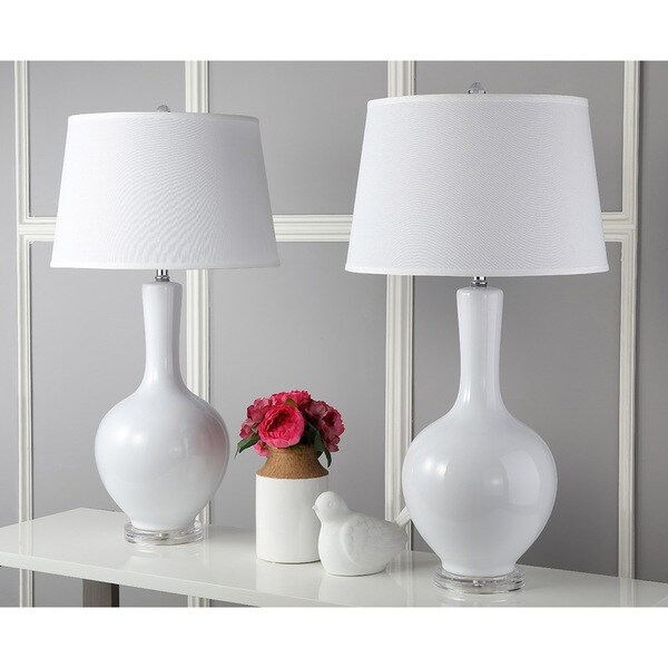 Safavieh Lighting Blanche White Acrylic 32 Inch Gourd Lamp (Set Of 2)