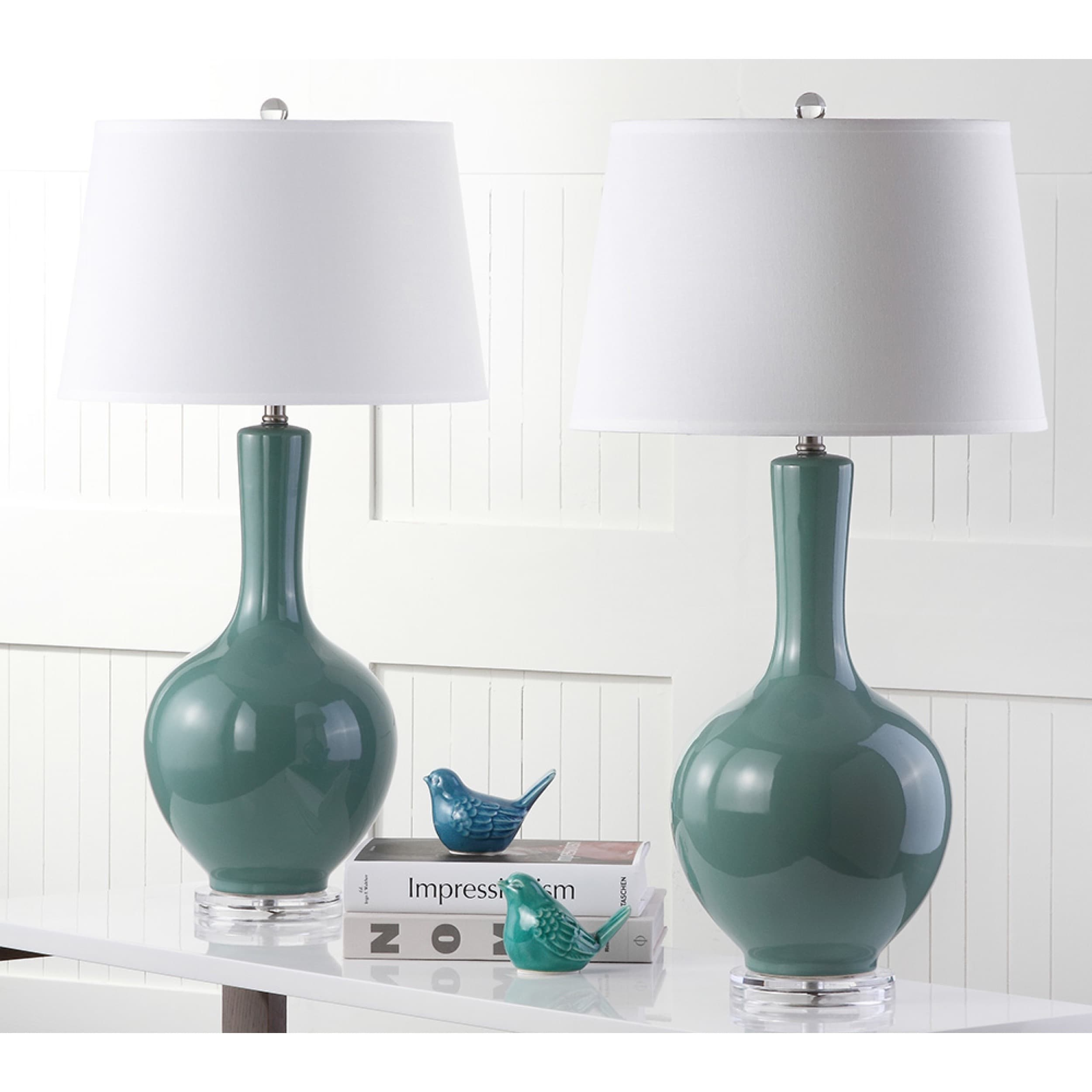 Safavieh Lighting 32-inch Teal (Blue) Blanche Gourd Lamp ...