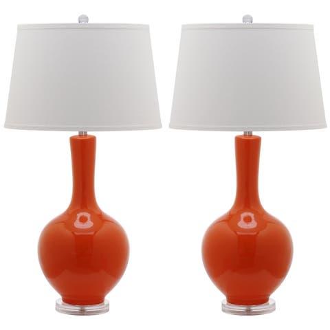 "Safavieh Lighting 32-inch Orange Blanche Gourd Lamp (Set of 2) - 17"" x 17"" x 32"""