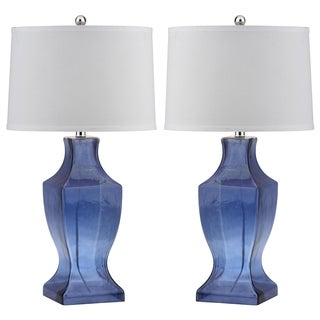 Safavieh Lighting 28.5-inch Blue Glass Bottom Lamp (Set of 2)
