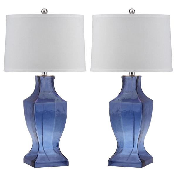 "Safavieh Lighting 29-inch Blue Glass Bottom Table Lamp (Set of 2) - 15""x15""x29"""