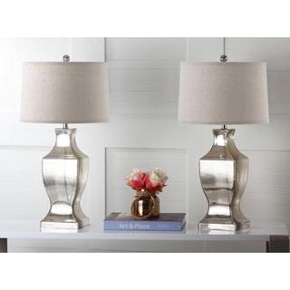 Safavieh Lighting 28.5-inch Antique Silver Glass Bottom Lamp (Set of 2)