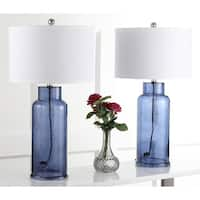 Safavieh Lighting 29-inch Blue Bottle Glass Table Lamp (Set of 2)