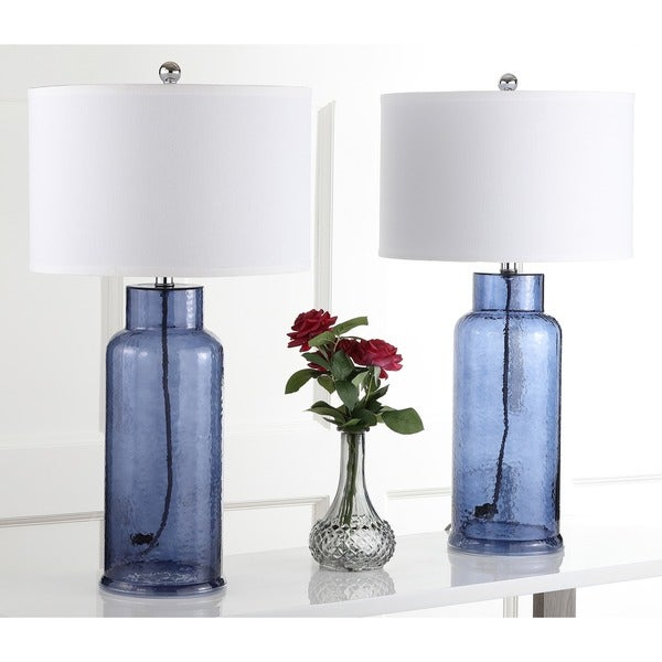 "Safavieh Lighting 29-inch Blue Bottle Glass Table Lamp (Set of 2) - 15.5""x15.5""x29"""