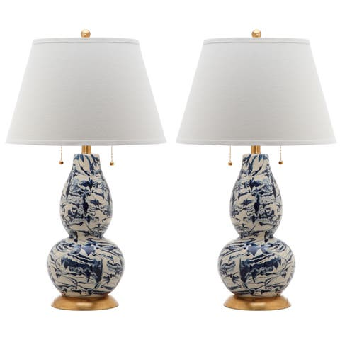 Safavieh Lighting 29-inch Navy and White Color Swirls Glass Table Lamp (Set of 2)
