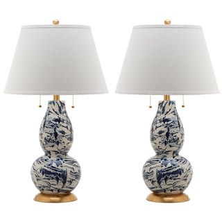 Safavieh Lighting 28.5-inch Navy and White Color Swirls Glass Table Lamp