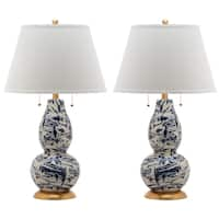Safavieh Lighting 28.5-inch Navy and White Color Swirls Glass Table Lamp (Set of 2)