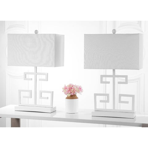 Safavieh Lighting 24-inch White Greek Key Table Lamp (Set of 2)