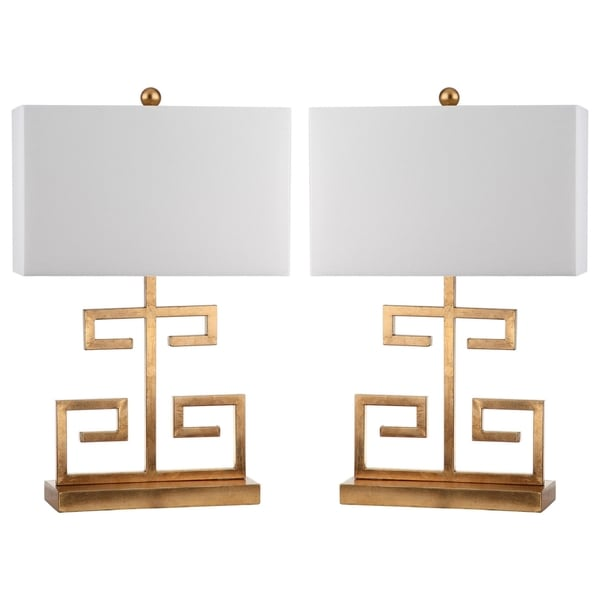 safavieh lighting 24 inch gold greek key table lamp set of 2 free shipping today overstock. Black Bedroom Furniture Sets. Home Design Ideas