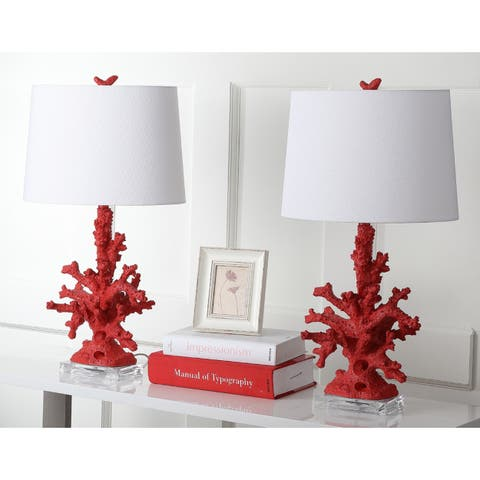 Safavieh Lighting 28-inch Faux Coral Branch Red Table Lamp (Set of 2)