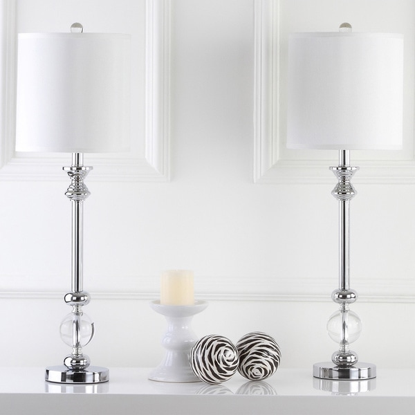 Safavieh Lighting Erica Chrome/Crystal 31-inch Candlestick Lamps (Set of 2)