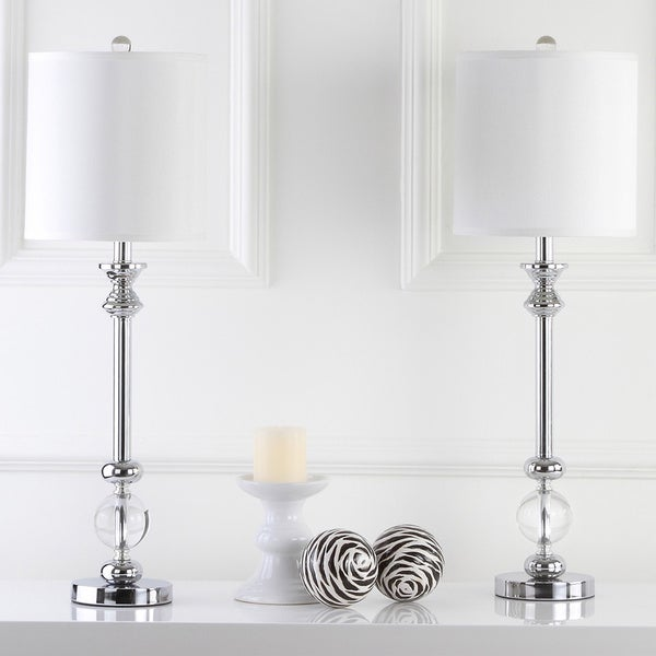 Safavieh Lighting Erica Chrome/Crystal 31 Inch Candlestick Lamps (Set Of 2)