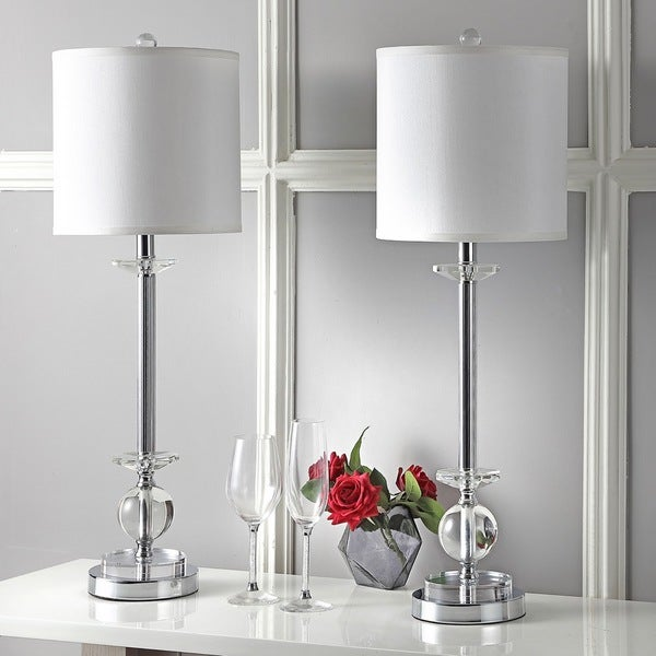 Safavieh 2-piece Lighting Crystal Marla Silver 31-inch Candlestick Lamp Set