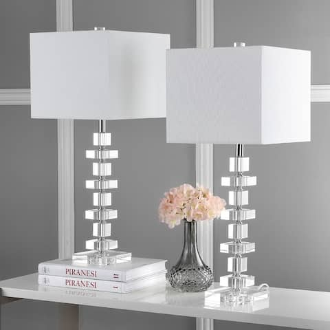 "Safavieh Lighting 28-inch Crystal Deco Crystal Table Lamp (Set of 2) - 12""x12""x28.5"""