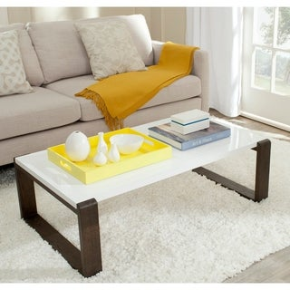 Safavieh Mid-Century Modern Bartholomew White/ Dark Brown Lacquer Coffee Table