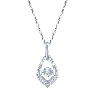 Auriya 14k White Gold 1/10ct TDW Dancing Stone Diamond Necklace