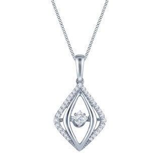 Auriya 14k White Gold 1/3ct TDW Dancing Diamond Pendant Necklace (H-I, I1-I2)